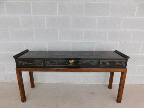 DREXEL Et Cetera Black Lacquer Chinoiserie Decorated Console Table