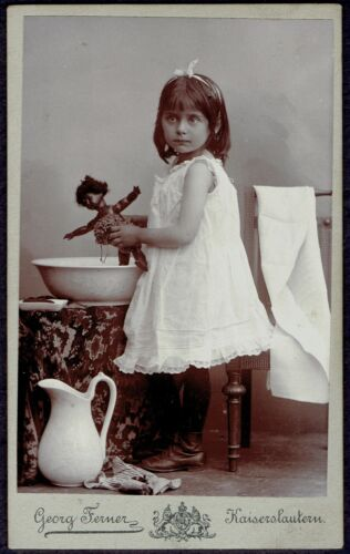 CDV Photo Girl with Black African Doll (6677)
