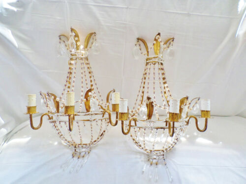 Antique Pair of Ornate Hollywood Regency Tole / Metal & Crystal Sconces in Gold