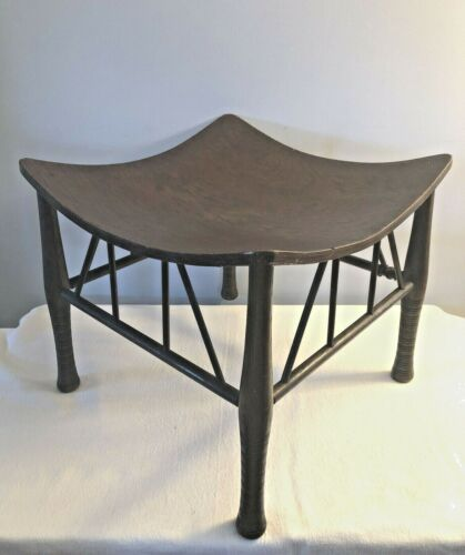 Antique Vtg Egyptian Revival Thebes Stool Liberty of London Style Arts & Crafts