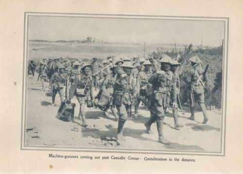"""Anzac Print -1917 Original. Antique Vintage """"Machine-gunners coming out past Ca1914 - 1918 (WWI) - 13962"""