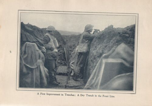 """Original 1917 Anzac Print  - Antique Vintage """"A First Iimprovement in Trenches: 1914 - 1918 (WWI) - 13962"""