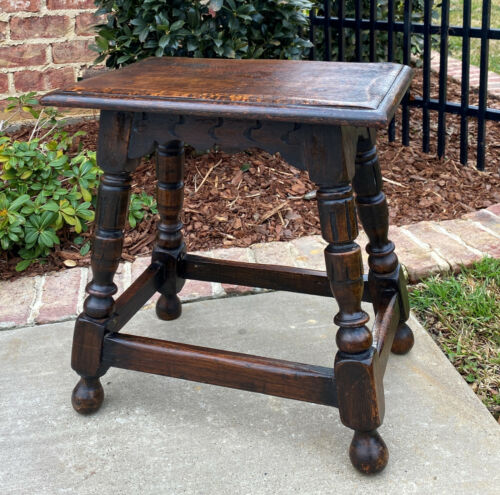 "Antique English Oak Joint Stool Footstool Bench Pegged Turned Post 18"" T c.1930s"