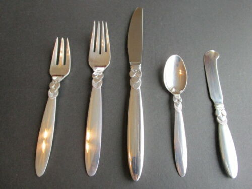 GEORG JENSEN CACTUS STERLING SILVER FLATWARE DINNER SET 5P POST 1945  EXCL*LOTD