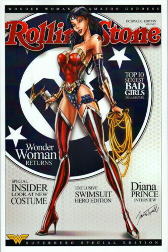 WONDER WOMAN w LOGO ROLLING STONES Mag Cover Print HAND SIGNED Jamie Tyndall COA