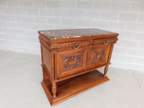 Vintage Spanish Revival Style Marble Top Server Cabinet
