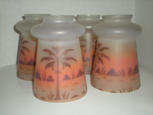 4 Antique Chandelier Pendant Light Shades Palm Trees Islands in Sunset RARE