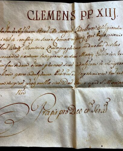 POPE CLEMENTS XIII BULLA 1762 - Signed by Cardinal Antonellus