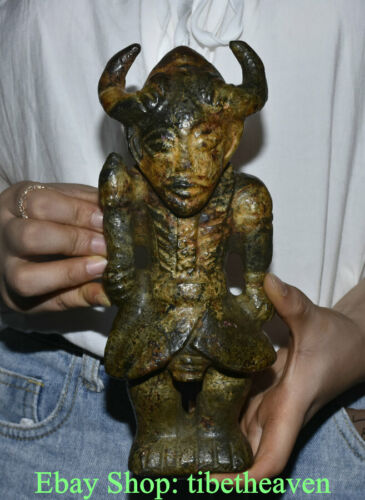 """9"""" Rare Old Chinese Hongshan Culture Old Jade Carving Sheep Head Helios Statue"""