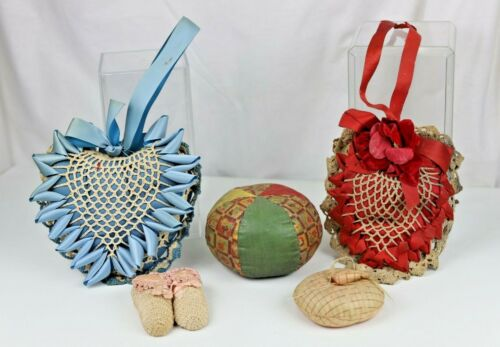 Five Various Antique Pin Cushions Including Crocheted Heart Tomato Baby Slippers