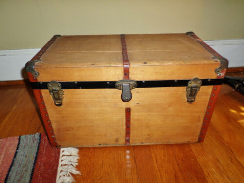 """Antique Miniature Pine Trunk with Red Leather Straps 10.75 Tall x 18"""" Long"""