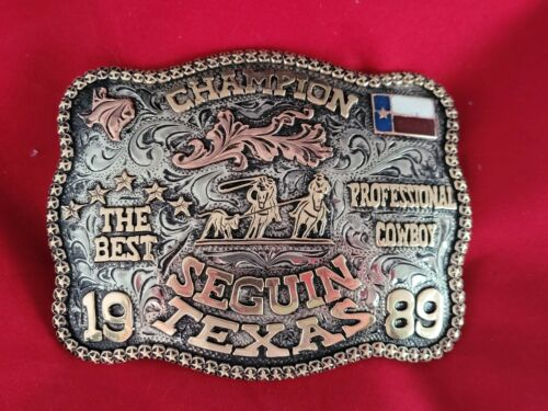 RODEO TROPHY BUCKLE☆1989☆SEGUIN TEXAS TEAM ROPING CHAMPION VINTAGE 417