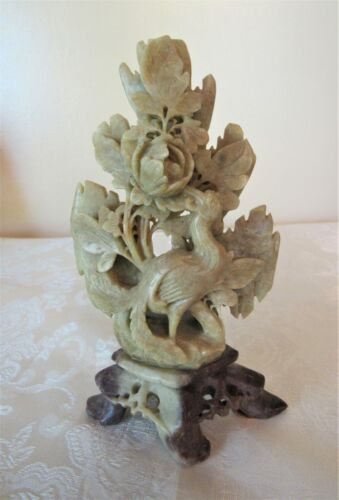 Antique Chinese Soapstone Peacock & Peonies Carving * Very Detailed