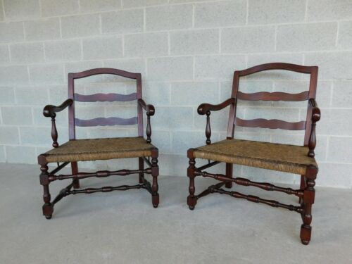 Vintage Oak French Country Style Rush Bottom Arm Chairs - a Pair