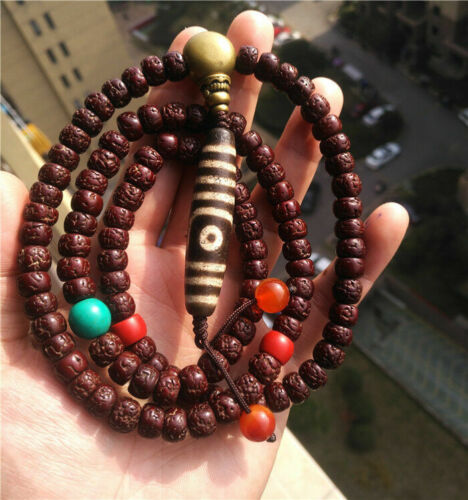 tibetan antique lotus bodhi seed bracelet 2 eyes dzi prayer beads mala necklace