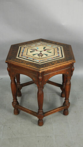 1920's Antique Spanish Revival California Tile Table with Mosaic Insert (13187)