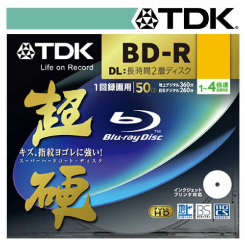 Tdk 50gb 4x Speed Bd-r Blu-ray Double Layer Recordable Disk 1pcs Jewel Case P...