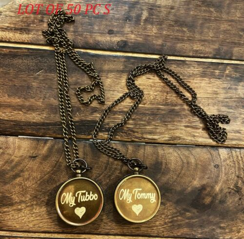 NEW Antique Brass My Tommy & My Tubbo Compass Necklace Love Pendent Compass