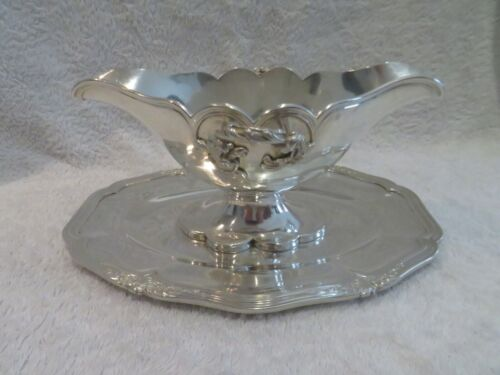 Gorgeous 1900 french sterling silver sauce boat rococo st E Puiforcat