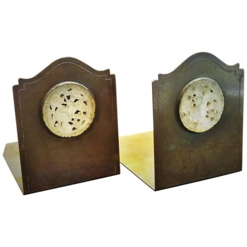 Potter Studio Arts & Crafts Hand-Carved White Jade & Brass Bookends, Ca. 1915