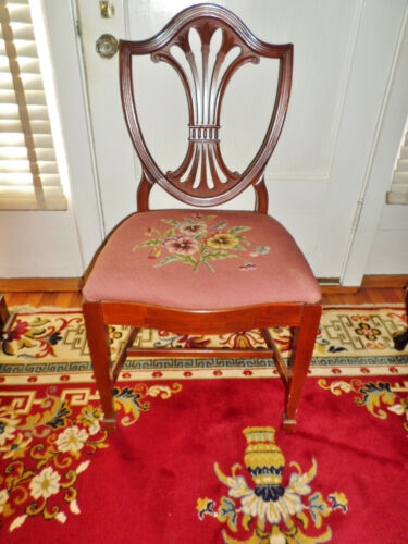 Antique Sheraton Style Mahogany Side Chair with Needlepoint Seat