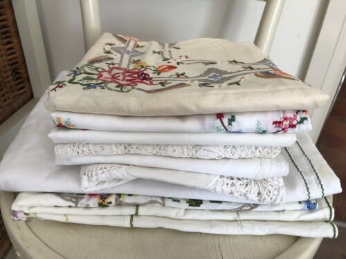 Vintage Floral Embroidered And Crochet Tablecloths Bulk Lot X8