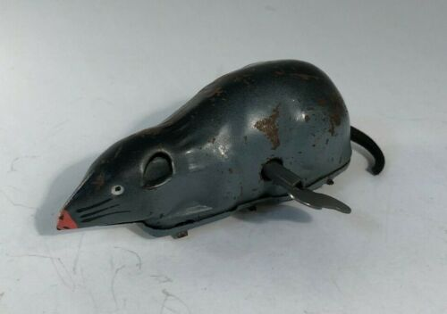 VINTAGE OCCUPIED JAPAN WIND UP TOY TIN MOUSE WITH KEY - WORKS - 40s 50s