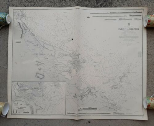 FARN Is. TO BERWICK 1931 dated Admiraly Map Original England Military Nautical