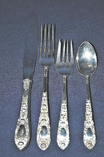 KIRK ROSE STERLING 4 SETTINGS WITH 4 PIECES PER SETTING TOTAL 16 PIECES POLISHED