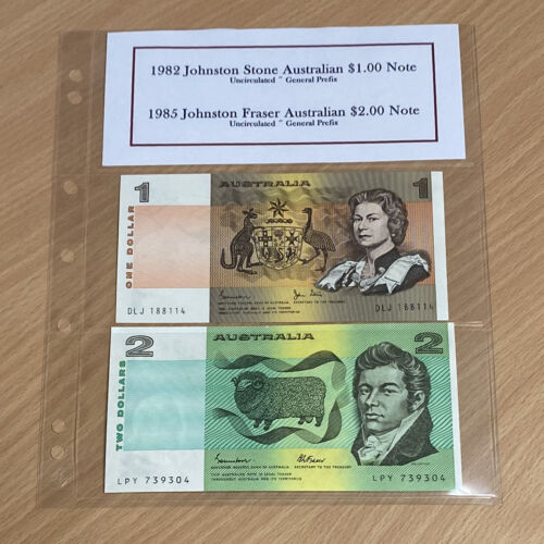 Last Edition Australian $1 and $2 Note Set - Uncirculated