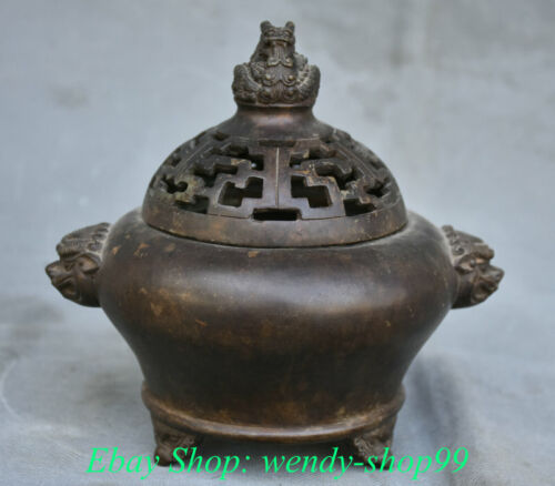 """6"""" Marked Old Chinese Bronze Dynasty Dragon Lion Ear Incense Burners Censer"""