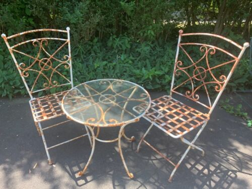 Fancy Antique Scrolled Heavy Wrought Iron Glasstop Bistro Patio Set