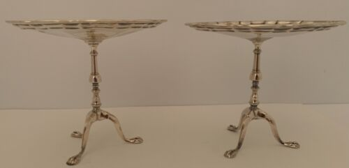 PAIR ENGLISH EDWARDIAN STERLING FIGURAL CHIPPENDALE TABLE STANDS LONDON 1909