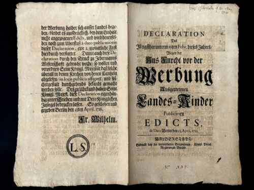 1754 ROYAL DECLARATION AND EDICT on Advertising Fear and State Children