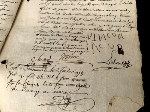 1777 WATERMARKED PAPER MANUSCRIPT WITH AUTOGRAPHS