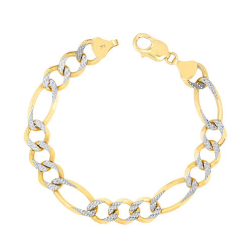 """10K Yellow Gold Mens Solid 12mm Diamond Cut White Pave Figaro Chain Bracelet 9"""""""