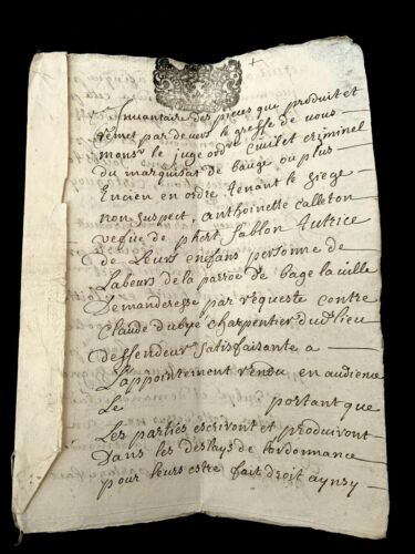 1708 ANTIQUE PAPER DOCUMENT 6 pages of Property Inventory - Antoinette Calleton