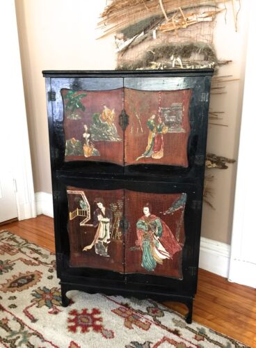 """Antique Oriental Chinese Black Lacquer Cabinet 53"""""""