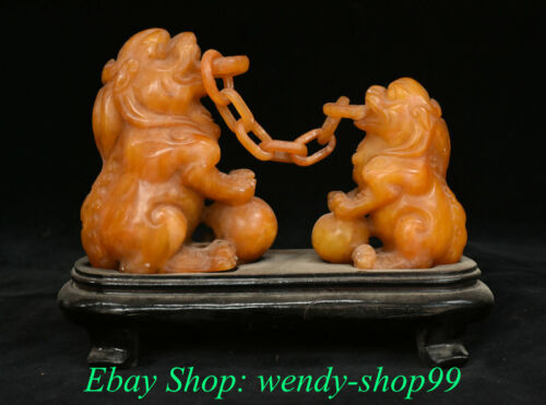 """6"""" Rare Old China Tianhuang Shoushan Stone Carving 2 Lion Beast Signet Stamp"""