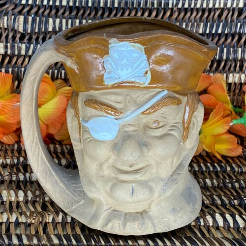 Toby Mug Bisque with Handle Pirate Jolly Roger Skull and Crossbones Japan