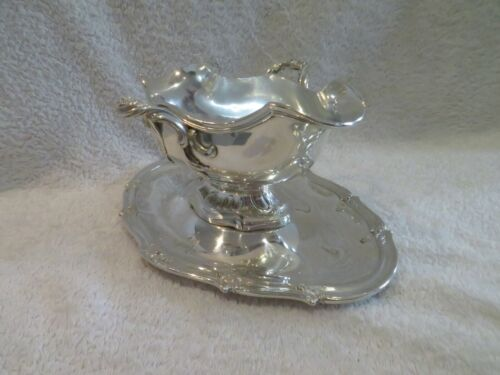 Magnificent 1900 french sterling silver sauce boat rococo st Henin