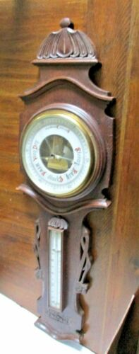 RARE Antique EAST LAKE Carved Oak Wall Aneroid Barometer Thermometer -- GREAT!
