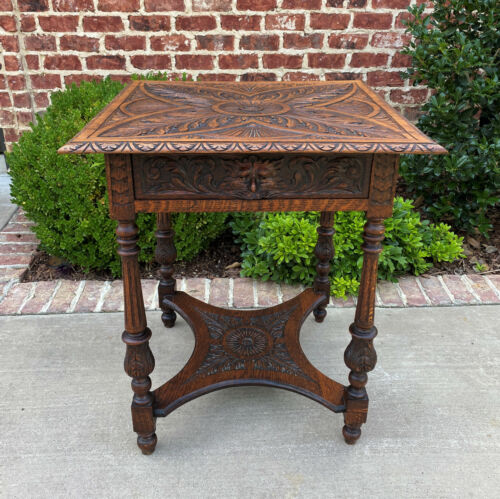 Antique English Side End Table Carved 2-Tier Nightstand Oak with Drawer Square