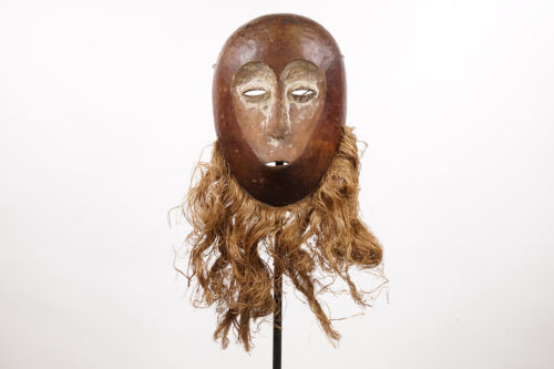 """Lovely Lega Mask with Raffia 18.5""""- DR Congo - African Art"""
