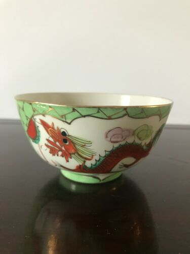 Vintage Chinese Famille Rose Porcelain Bowl  Handpainted Dragon & Phoenx