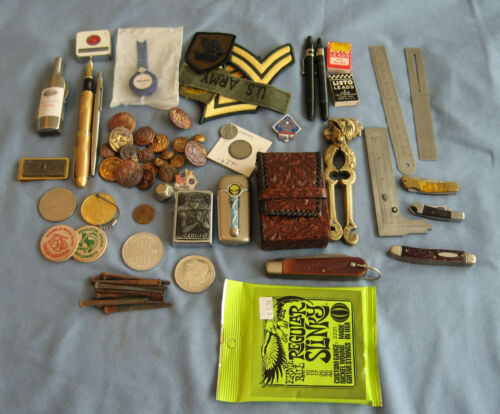 Junk Drawer Lot: Silver Dollar, Coins, Old Military Buttons,Lighters, Pens, More