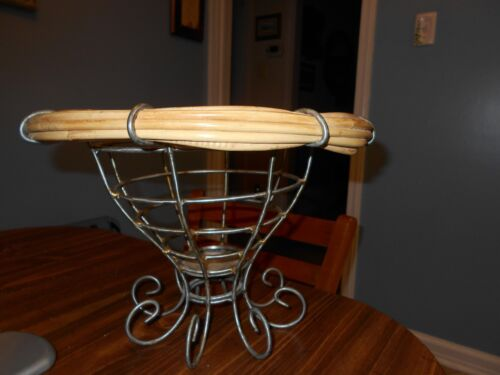 ART METAL WIRE & WICKER BASKET TABLE DECOR COUNTRY KITCHEN CURVE LEGS INDONESIA