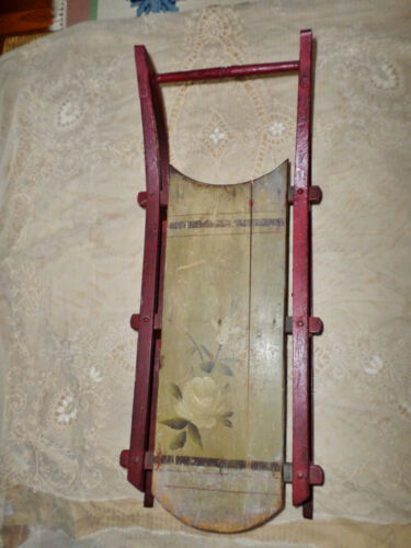 """SLED Victorian Childs Antique Sled in Original Hand Painted Surface 31"""" Long"""