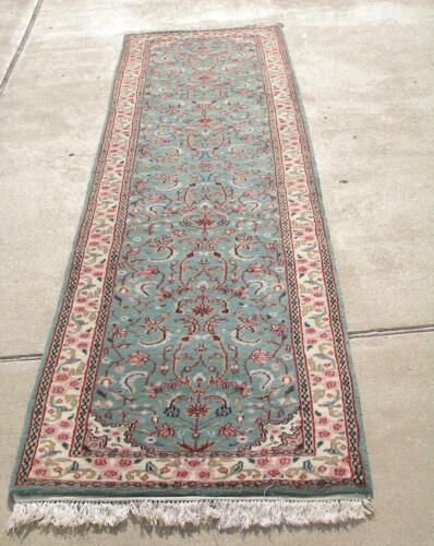 """Vintage Indo-B i j a r Hand Woven Knotted Runner Green Rug 30x116"""""""