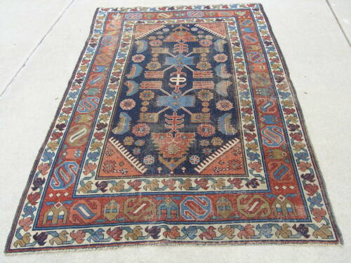Unusual Antique Caucasian Kuba Rug 55x83 Inches As Shown Wool Foundation Washed